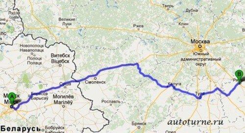 Минск Рязань на автомобиле маршрут 2