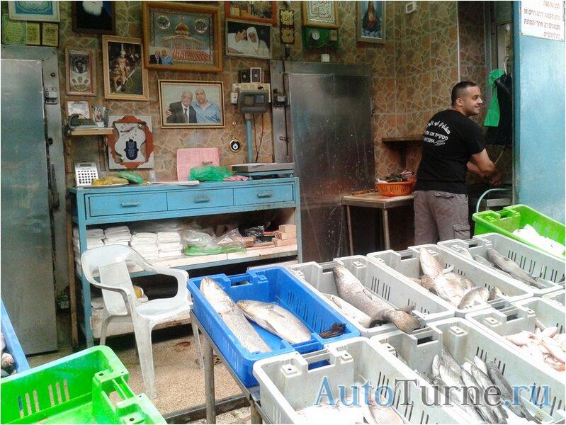 Рыбный прилавок на арабском базаре